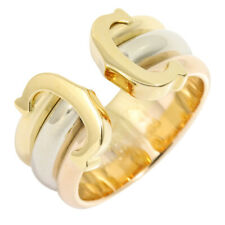 Auth Cartier 18K Y/W/R Three Gold 750 C2 Double C Ring Women US5.5 EU48 G1264