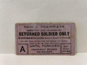 Tramway Board Melbourne Cable Tramways Returned Soldier Ticket Brunswick Rare