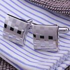 New Classical Square Steel Wedding Party Gift Mens Cufflinks Laser Cuff Links MT
