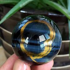 95.8g Beautiful Natural blue golden Tiger eye stone Crystal Sphere Ball healing