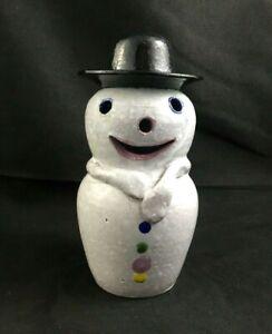 "Neolia Cole Pottery NC Folk Art 6 3/4"" SNOWMAN Figurine - Signed - 8 of 10"