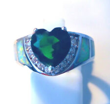 "GORGEOUS WHITE  FIRE OPAL/PERIDOT RING UK Size ""K"" US 5.5"
