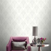 ASTORIA DECO WALLPAPER WHITE & SILVER RASCH 305302 - FEATURE WALL NEW