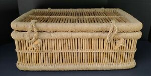 X-Large Rectangle Bamboo Straw Wicker Rattan Storage Basket With Lid