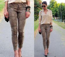 89e73f3f Zara Snake Printed Jeans Trousers With Zips Size L 12 UK 40 EU 8 US