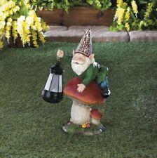 Garden Gnome on Mushroom Holding a Solar Lantern Figurine