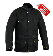 RKsports Vintage Wax Cotton Waterproof Motorcycle Motorbike Jacket CE armors