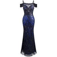 Angel-fashions Women's Paillete Spaghetti Strap Bateau Sheath Ball Gown dress220