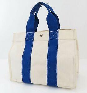 Auth HERMES Fourre Tout Bora Bora Off White and Blue Canvas Tote Bag #39520
