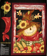 Autumn Fabric Scarecrow Fall Pumpkin Sunflower Blessings CP58731 ~ Wall Panel