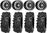 "Sedona Sano Bdlk 14"" Wheels Bk +30mm 32"" Mudda Inlaw Tires Commander Maverick"