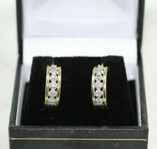 Cuff Earrings Gift Boxed 9ct Yellow Gold on Silver 0.10ct Diamond Huggie