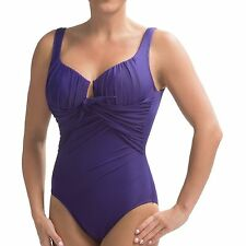 NWT New MIRACLESUIT Sandra D One Piece Tank Swimsuit Eggplant Purple 16
