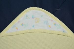 Vintage J.E. Morgan Waffle Weave Thermal Yellow Hooded Baby Blanket  USA Made