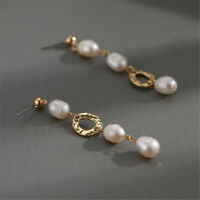 60x13mm Natural White Baroque Pearl 14K Ear Drop Danle Luxury Flawless Jewelry