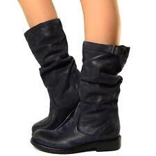 Damen Stiefel Echtleder Vintage Effekt Autumn Biker Boots Made in Italy Abikm