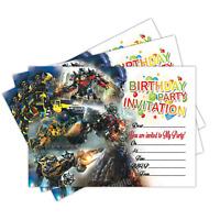 20 x Transformers Kids Children's Birthday Party Invitations Invites Cards Boys
