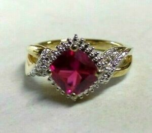 Silver 925 Simulated Ruby and CZ Ring Size 6 1/2 Ladies Cocktail Ring Marked Sun