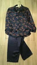 Inner most Women Solid Navy Blue Long Sleeve Poly Satin 2pc Pajama Set   Size L