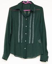 DOLCE & GABBANA Womens Green Lightweight Sequin Button-Down Shirt Top 42/6