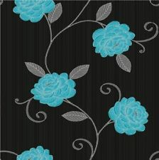 Wow Teal & Black Floral Leaf  Flower Designer Wallpaper Free P&P