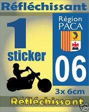 1 Sticker REFLECHISSANT département 06 rétro-réfléchissant immatriculation MOTO