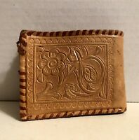 Vintage Beautiful Mexican Tooled Light Brown Leather Wallet Wolf & Flowers