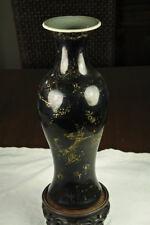 """Kangxi black glazed vase with gilded decor (birds) 10,5"""" H"""