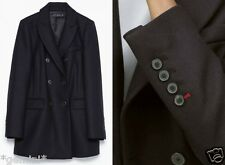 ZARA NAVY BLUE WOOL DOUBLE BREASTED COAT JACKET BLAZER WOLLE JACKE MANTEL SIZE M