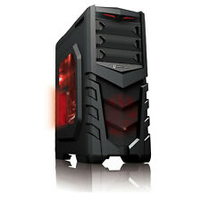 CIT VANQUISH LED ROSSO Midi ATX USB3 Gaming Tower Case PC Side Window