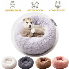 Fur Donut Plush Pet Dog Cat Bed Fluffy Warm Calming Bed Sleeping Kennel Nest