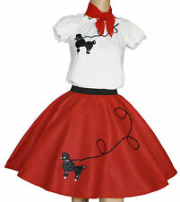"""3-Pc Red Poodle Skirt Outfit _ Adult Size XL-3XL _ Waist 40""""- 55"""""""