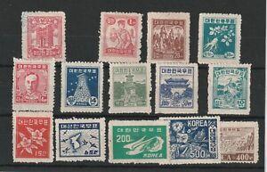 KOREA (21c197) Card of 12 x 1948-50 values - 1 VFU - 11 hinged hinges left on