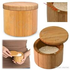 Bamboo Salt Box Spice Herbs Container Jar Seasoning Rack Storage Pot