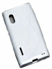 S-Rubber Silikon TPU Cover Case Weiß + Displayschutzfolie für LG E610 Optimus L5