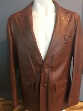 Vintage Adler Brown Cabretta Glove Leather Blazer Lined, Button Front, Men's  42