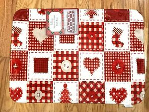 Christmas Memory Foam Bath Mat: Traditional Country Patchwork Red Ivory
