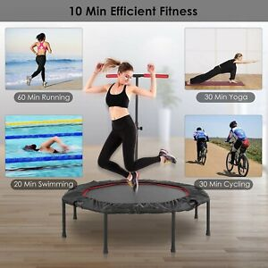 50'' Smart Monitoring Fitness Trampoline  Mini Rebounder W/8 Heigh Jump Exercise