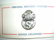US NAVY SALVAGE DIVER BADGE - SILVER OXIDIZED