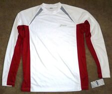 ASICS Men's eikoku Long Sleeve Running Tee 579920-0733 Bianco / Rosso Scuro XL