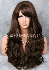 STRIKING! Long Wavy Curly with bangs Brown Layered Stunning Wig win 6