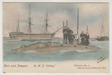 Shipping postcard - H.M.S Victory, Past & Present - Submarine No. 3