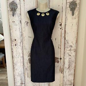 Calvin Klein Size 6 Woman's Charcoal Gray Sleeveless Sheath Career Dress