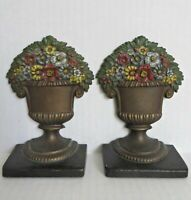 Antique B&H BRADLEY and HUBBARD Flower Floral Urn Basket Cast Iron Bookends RARE