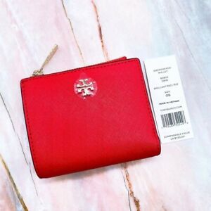 Tory Burch Emerson Saffiano Leather Mini Wallet Red ~ NWT