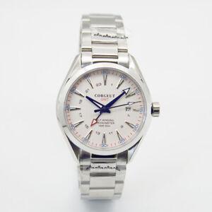 41mm CORGEUT White Dial Datum GMT Sapphire SS Case Luminous Automatic Mens Watch