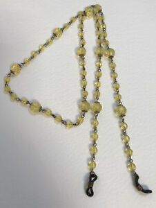 GLASSES CHAIN Yellow Plastic Bead and Wire Lightweight 30 1/2 Inches