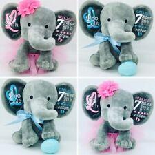 Birth announcement elephant- new baby gift - baby keepsake - birth stat elephant