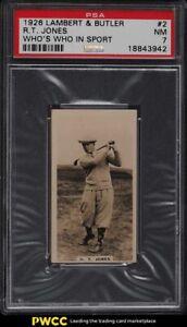 1926 Lambert & Butler Who's Who In Sport Golf Bobby Jones RC #2 PSA 7 NRMT