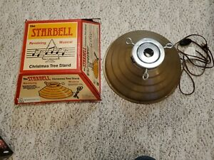 Vintage The Starbell Revolving Musical Christmas Tree Stand Gold excellent